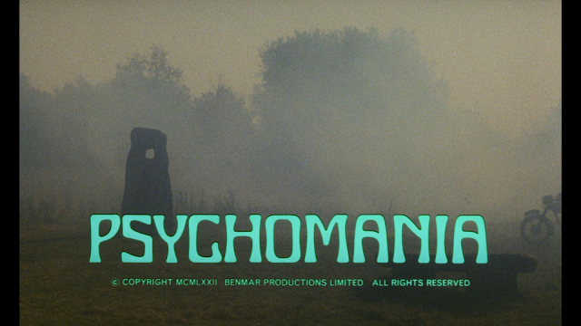the very foggy title card for Psychomania