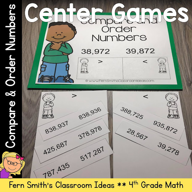 Click Here to Download This 4th Grade Go Math 1.3 Compare and Order Numbers Center Games Resource Today for Your Class!