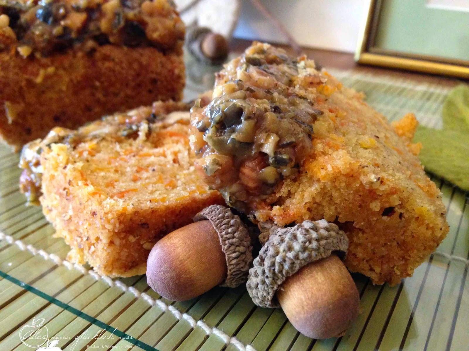 Karotten Kardamon Kuchen mit Sherry-Nuss Karamell