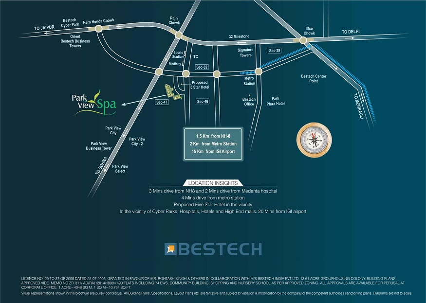 Location Map Ready to Move Apartments in Bestech Park View Spa, Sector-47, Gurugram