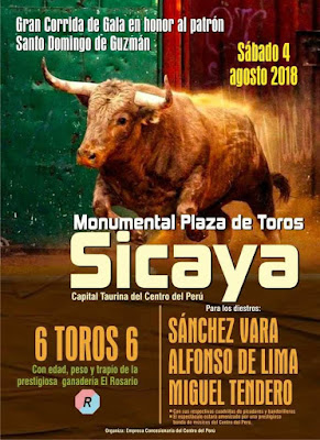 cartel toros toreros sicaya 2018 santo domingo guzman junin