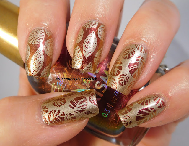 UberChic Beauty Lovely Leaves 2 over Sally Hansen Amber Ruby