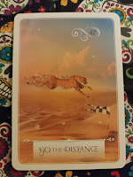 Card 47 go the distance. Features a cheetah running to the finish line