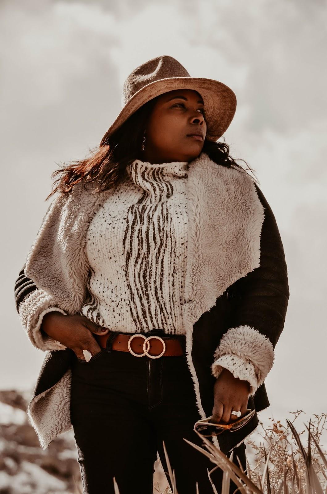 cowgirl-paige-denim-bootleg-jeans-pants-anthropologie-blush-plush-chenille-hat-guess-double-ring-belt-vintage-cateye-sunglasses-at-snowy-mount-charleston-lasvegas-nv