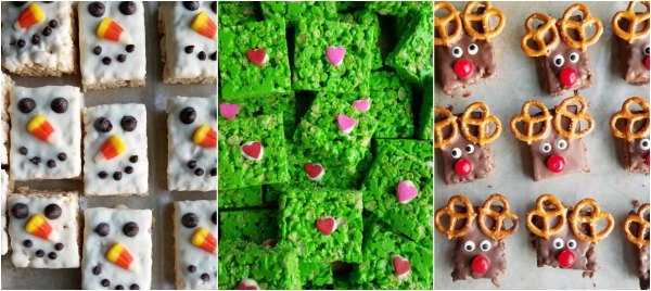 collage of rice krispie treats decorated as snowmen, Grinch hearts and Rudolph the Red nose reindeer