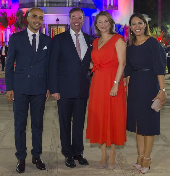 Prince Guillaume at Villa des Arts. Princess Stephanie wore Paule Ka Coral bow embellished midi dress