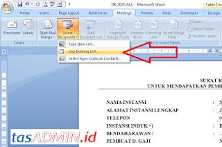 aplikasi dk menggunakan mail marge