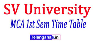 SV University SVU MCA 1st Sem Time Table Notification 2017