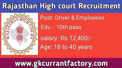 Rajasthan High court Driver Recruitment, Rajasthan HC Recruitment