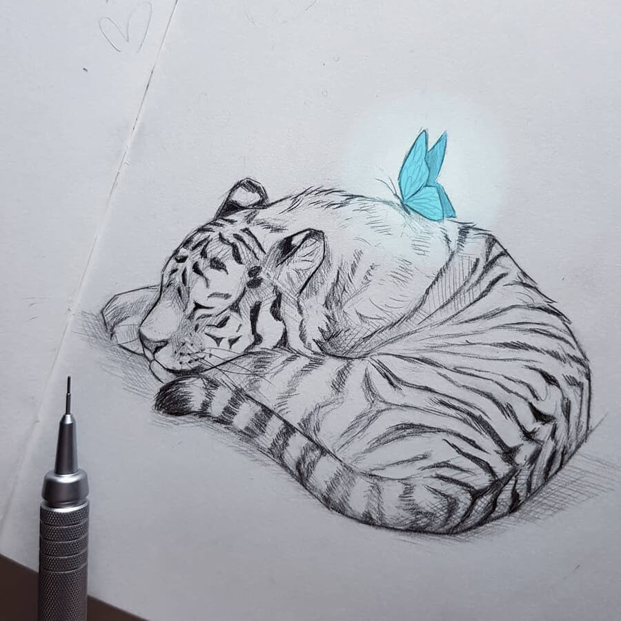 06-Baby-tiger-and-butterfly-Kleevia-www-designstack-co