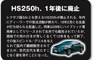 レクサスHS250h 2018年に生産販売中止