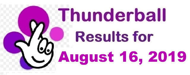 Thunderball results for Friday, August 16, 2019