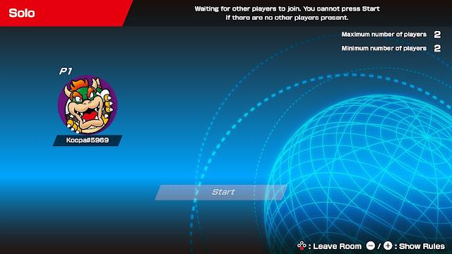 Mario Tennis Aces empty online waiting room 2021