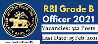 RBI (Reserve Bank of India) Grade B 2021 Notification / Bank Jobs in India for 322 RBI Grade B officer Posts