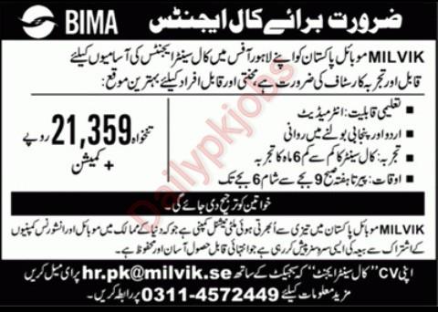 New Call Center Jobs May 2021 at Milvik Mobile Pakistan