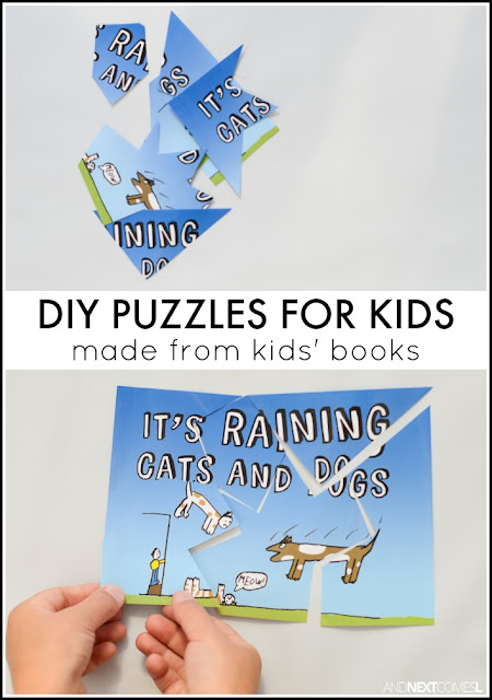 Easy DIY puzzles for kids using dust jackets from their favorite picture books from And Next Comes L