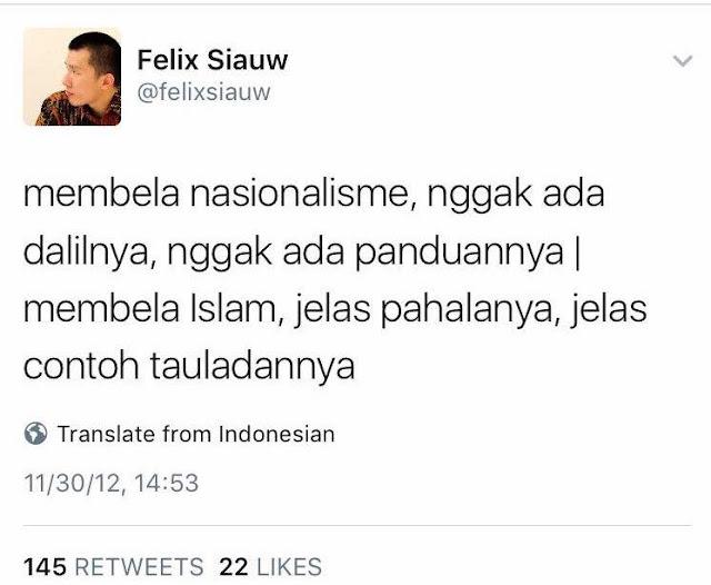 Felix Siauw, Nasionalisme tak Ada Dalilnya