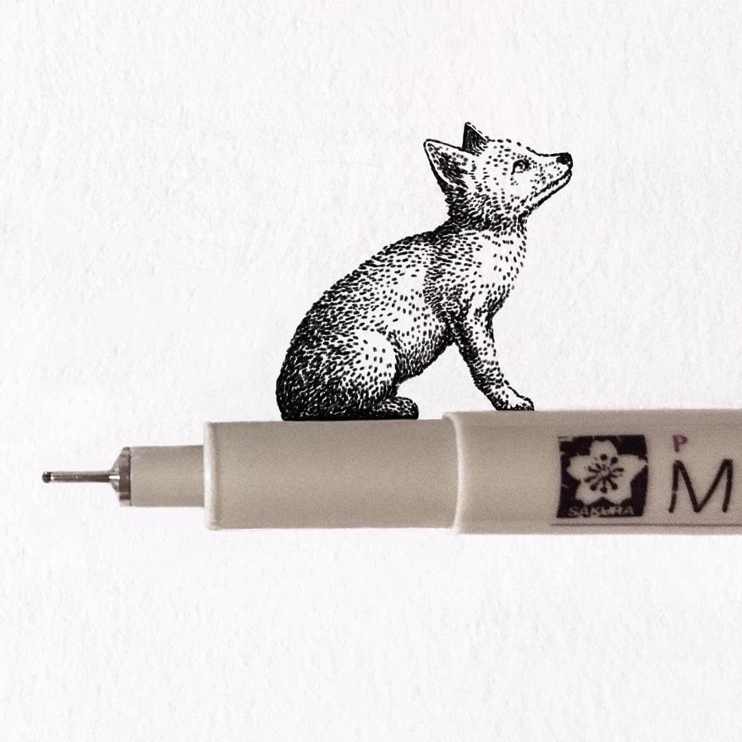 07-Fox-Puppy-Bryan-Schiavone-Tiny-Animals-in-Pen-and-Ink-Drawings-www-designstack-co