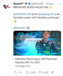 Resmi! Valentino Rossi Gabung Petronas Yamaha SRT Tahun 2021