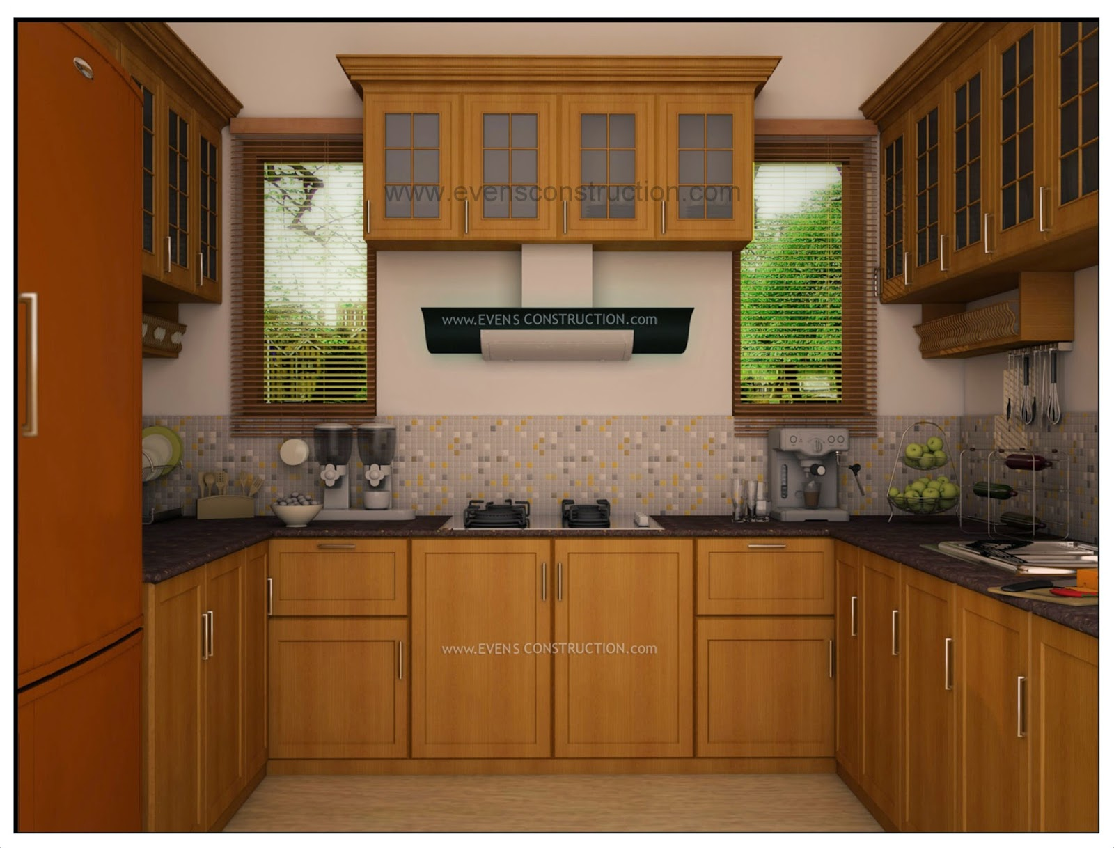 wooden kitchen cabinets in kerala evens construction pvt ltd kerala kitchen with wooden 29468