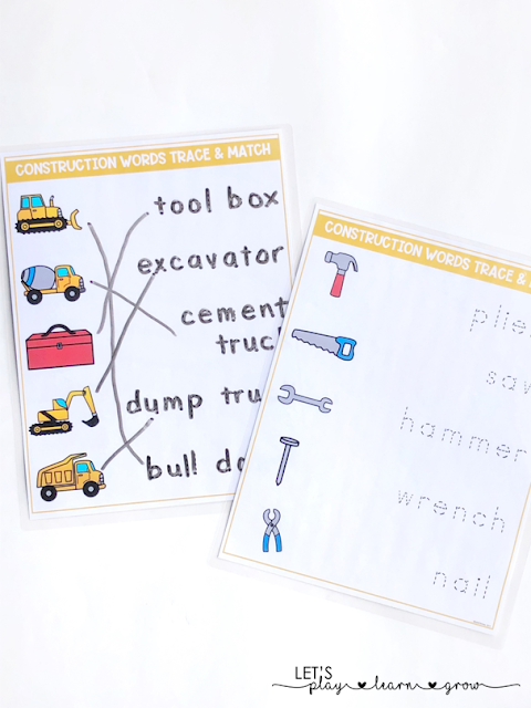Construction Vocabulary Words Prewriting Trace and match