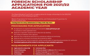 Ghana Education Trust Fund Foreign Scholarships 2021/2022 for Undergraduate & Master Students