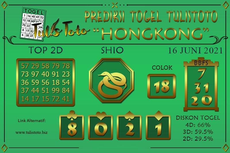 Prediksi Togel HONGKONG TULISTOTO 16 JUNI 2021