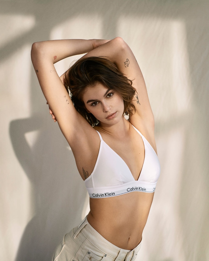 Model Kaia Gerber shows off Calvin Klein Modern Cotton Triangle Bralette.