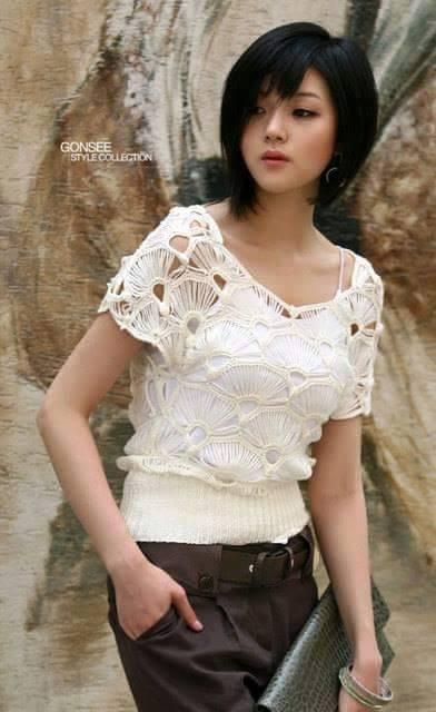Blusa Blanca de Abanicos
