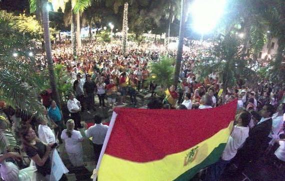 Protesta de evangélicos bolivianos.