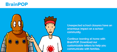 Screenshot of a BrainPop website page of school closure resources