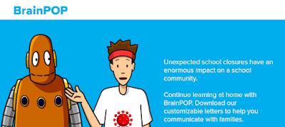 Screenshot of a BrainPop website page of school closure resources