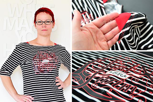 Streifenkleid mit Plotterdesign @frauvau.blogspot.de