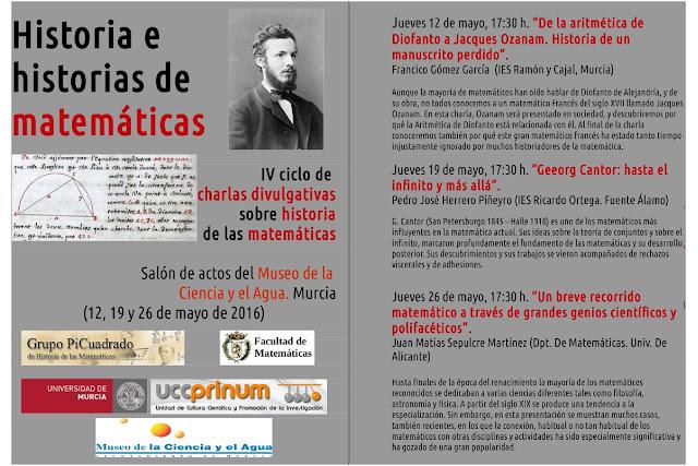 IV ciclo de charlas divulgativas sobre historia de las matemáticas.