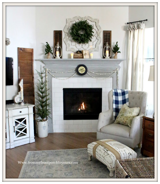 Winter Mantel-French Country-Farmhouse-Cottage-Style-Chimney Lanterns-French Ottoman-Buffalo Check-Flameless Candles-From My Front Porch To Yours