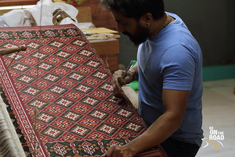 Patola sarees being woven the ancient way at Patan, Gujarat