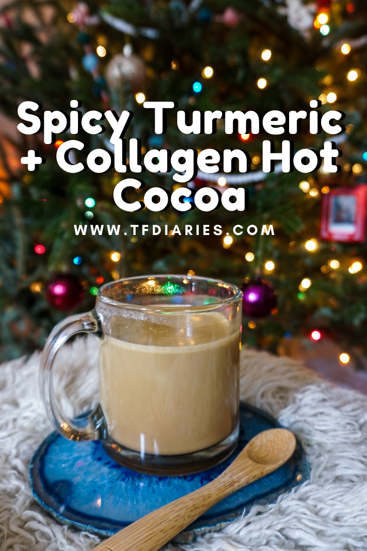 collagen hot cocoa recipe, paleo hot cocoa recipes, spicy hot chocolate, turmeric hot chocolate, healthy hot chocolate recipes, turmeric milk recipe, spiced hot chocolate, dairy-free hot chocolate, spiced milk, paleo spiced milk recipe, turmeric and collagen spiced milk