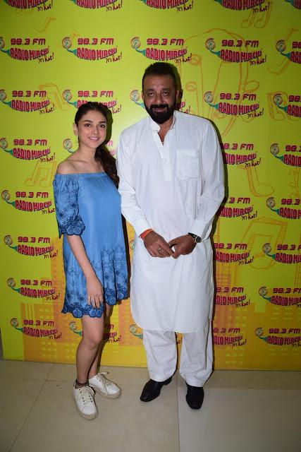 Sanjay Dutt and  aditi rao hydari at Radio Mirchi For Bhoomi Promotions