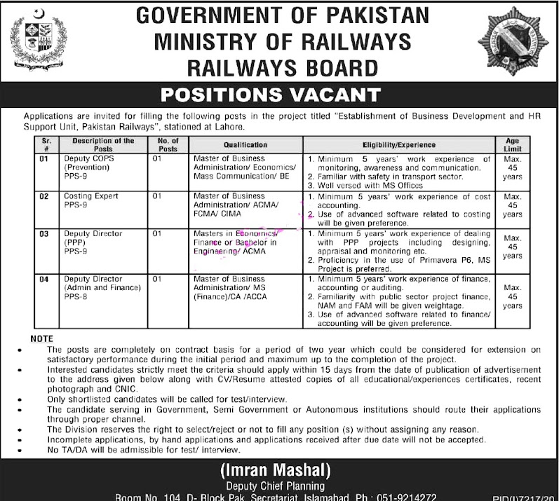 Ministry of Railways Board  Latest New Jobs For  Deputy COPS (Prevention),Costing Expert ,Deputy Director, & other
