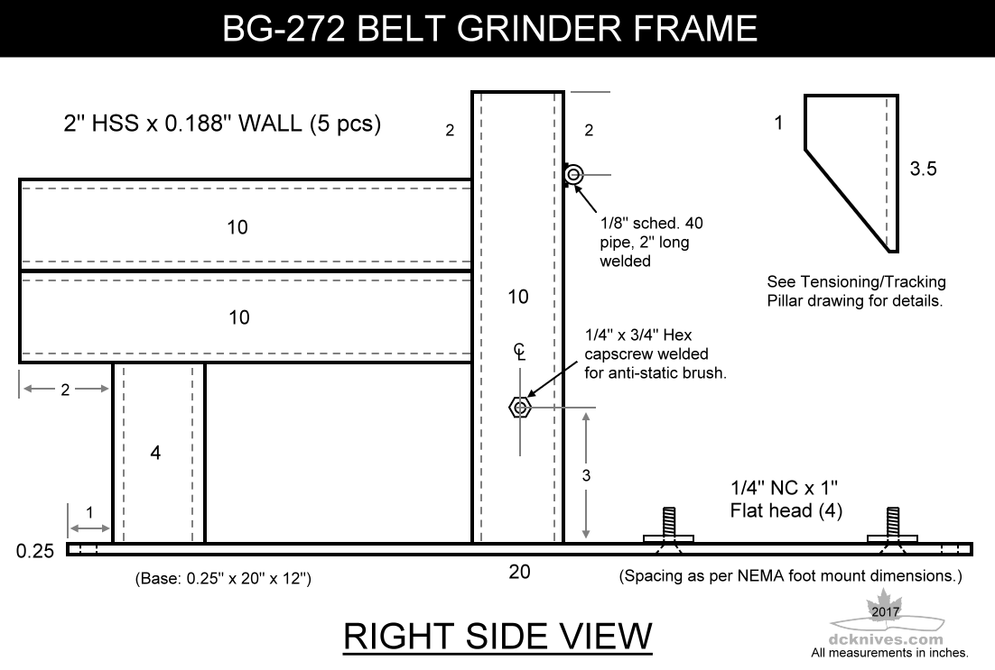 Diy Knifemakers Info Center Bg 272 2 X 72 Belt Grinder Delta Bench Wiring Diagram Update March 2017 I Have Made Some Better Drawings Of The Frame