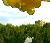 Lebendes Huhn schwebt an Heliumballons.