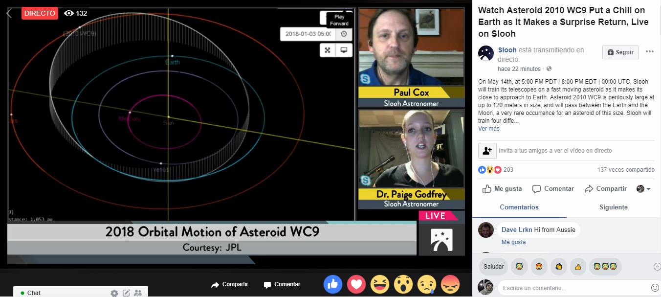 Sta passando l'Asteroide 2010 WC9 tra la Terra e la Luna, diretta streaming live chat su Facebook