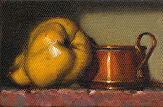 Still life oil painting of a quince beside a small copper pot