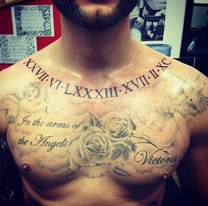 Roman numerals tattoo designs on chest