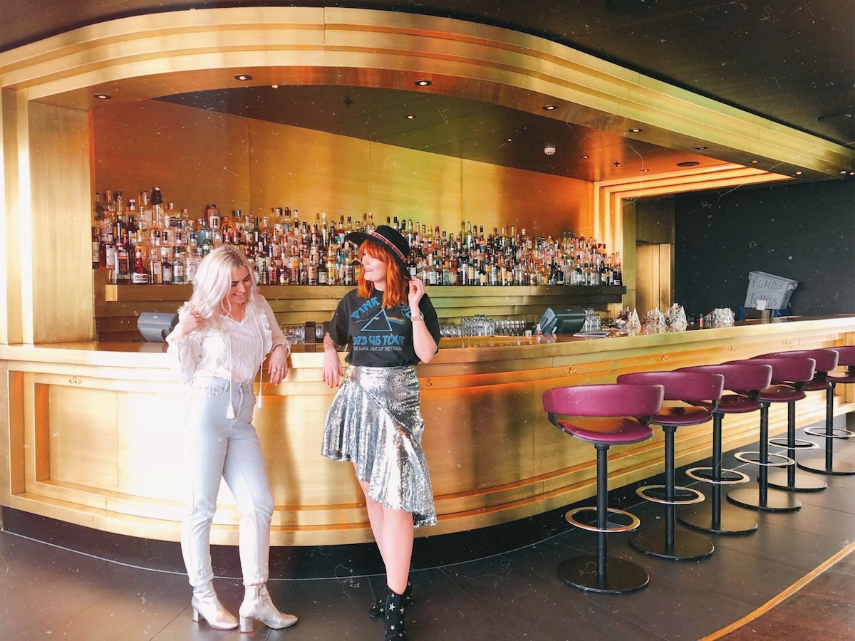 London-based bloggers, Kelly Prince-Wright & Leigh Travers, at the golden bar in the Rumpus Room