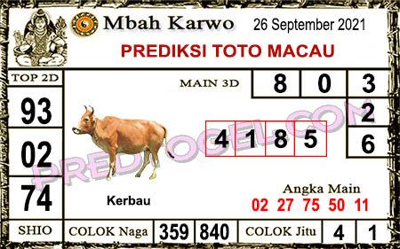 Prediksi jitu Mbah Karwo Macau Minggu 26 September 2021