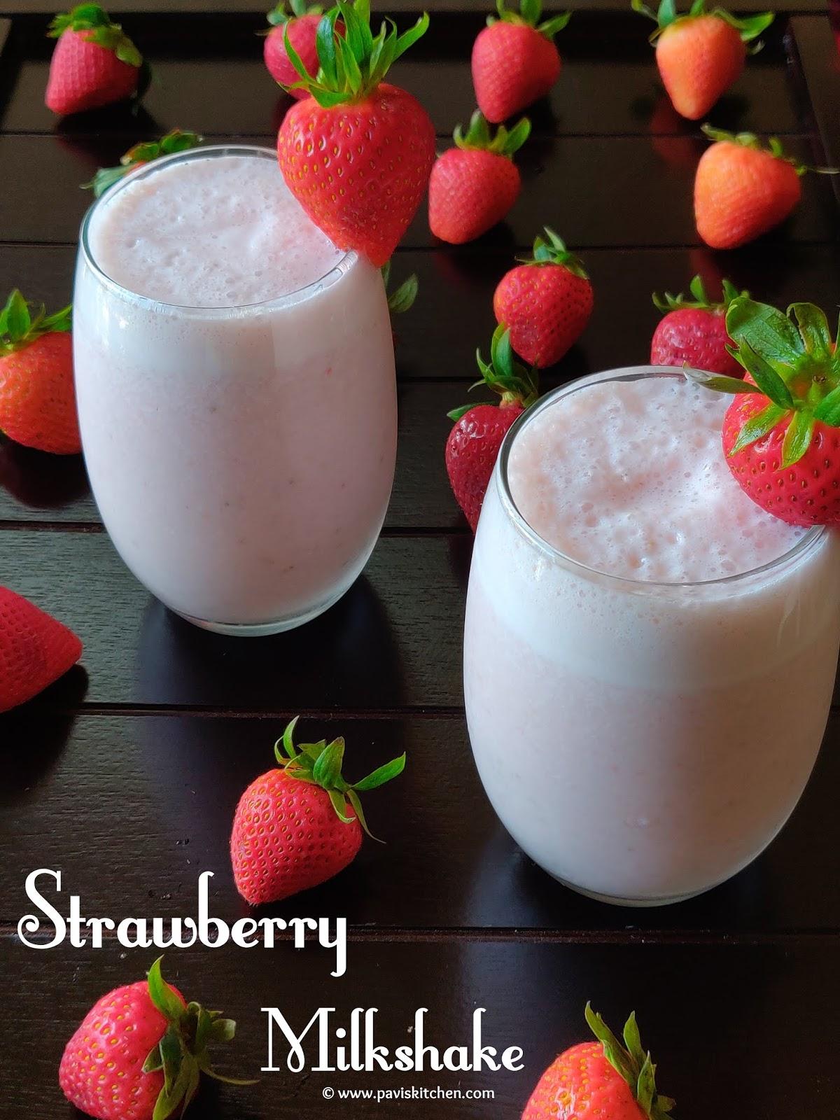 Homemade Healthy Strawberry Milkshake Recipe   Easy Fresh Strawberry Milkshake