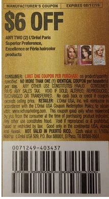 "6.00/2-L'Oreal Paris Superior Preference, Excellence or Feria Haircolor products Coupon from ""RMN"" insert week of 8/4/19."