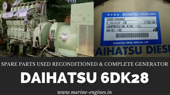 spare parts, engine, generator, daihatsu, 6DK28, motor, motori, sale, piston, rings, plungers, liner, cylinder, assy, used, reconditioned, genuine, original, OEM, camshaft, crankshaft
