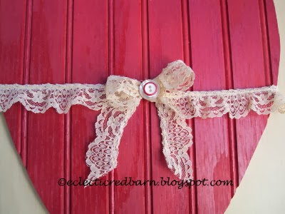 Eclectic Red Barn: Painted bead board heart with lace